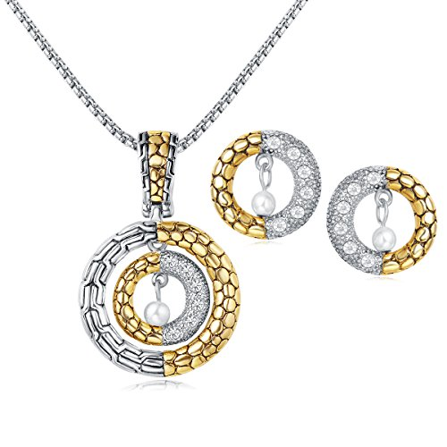 UNY Classic 2 Tone Plated Dots Circle Unique Design Crystal Earring Enhancer Pendant Necklace Hardy Fashion Jewelry Set
