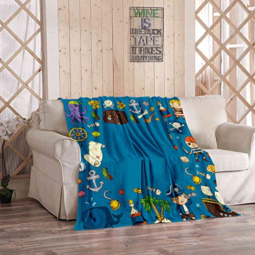 Kuidf Kids Throw Blanket Pirate Adventures Party Kindergarten Flannel Bedding Blankets Luxury Oversized for Couch Bed or Sofa 50x60 Inches