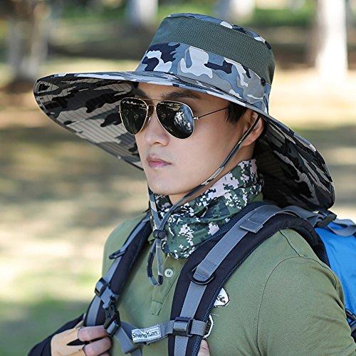 Chapeau Chapeau d'été, Hommes de Chapeaux de Sun Pliable Pliable avec la Protection UV Large de pêche extérieure de Bord, 10 Couleurs de Camouflage facultatives (Couleur : # 9)