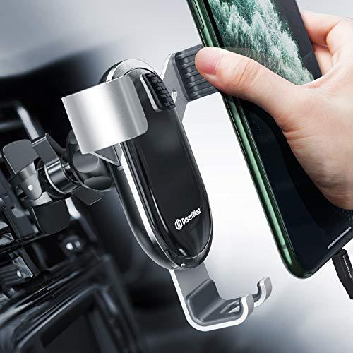 Handyhalterung Auto Lüftung Autohalterung Handy Halterung Schwerkraft KFZ Handy Halter für Auto kompatibel mit iPhone 12 11 Pro Max SE XR, Galaxy S20 A50, Huawei P30 P20 Pro, Navi bis 7 Zoll, Silber
