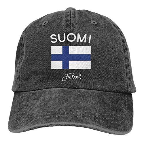 Hoswee Unisex Kappe/Baseballkappe, Finland Flag Men/Women Fashion Adjustable Baseball Cap Jeans Back Closure Sport Hat