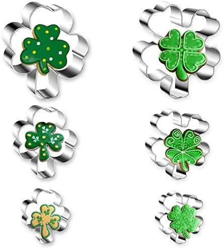 St Patrick s Day Cookie Cutter 6 Pcs Cookie Cutters Set Shamrock Four Leaf Clover Shaped Stainless product image