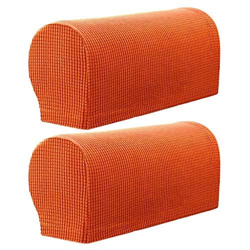 Monba 2 Stück karierte rutschfeste Stretch-Armlehnenbezüge, bequem und weich, maschinenwaschbar, Stuhl, Sofa, Armlehnenschutz, Flanell, Orange