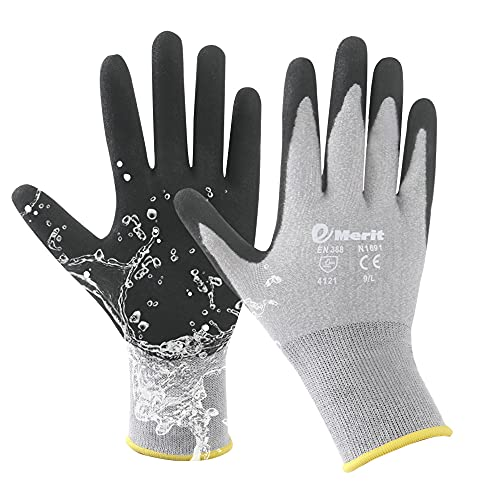 Emerit 2 Packs Bamboo Garden Gloves for Women, Nitrile Coated Working Glove for Gardening, Fishing, Clamming (L)