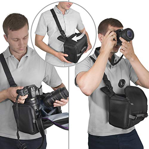 Sling Camera Bag Backpack for DSLR & Mirrorless Cameras by Altura Photo, Small Camera Backpack Compatible w/ Sony, Canon, Nikon - Photography Backpack w/ Tripod Holder, Small Camera Bag for Travel