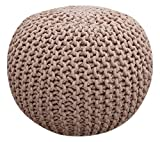 Fernish Décor Hand Knitted Cotton Ottoman Pouf Footrest 20x20x14 INCH, Round Pouf Foot Stool, Knit Bean Bag Floor Chair for Bed Room Living Room Accent Seat (Taupe)