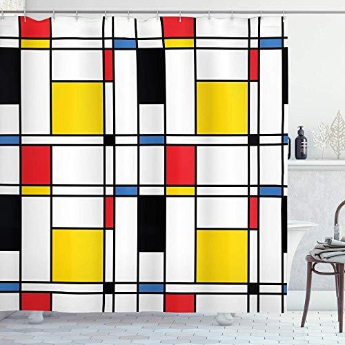 XCBN Cuadro Moderno Abstracto con patrón Azul en Mondrian Colorido Bauhaus Cortina de Ducha de Tela Impermeable y Resistente al Moho A2 90x180cm