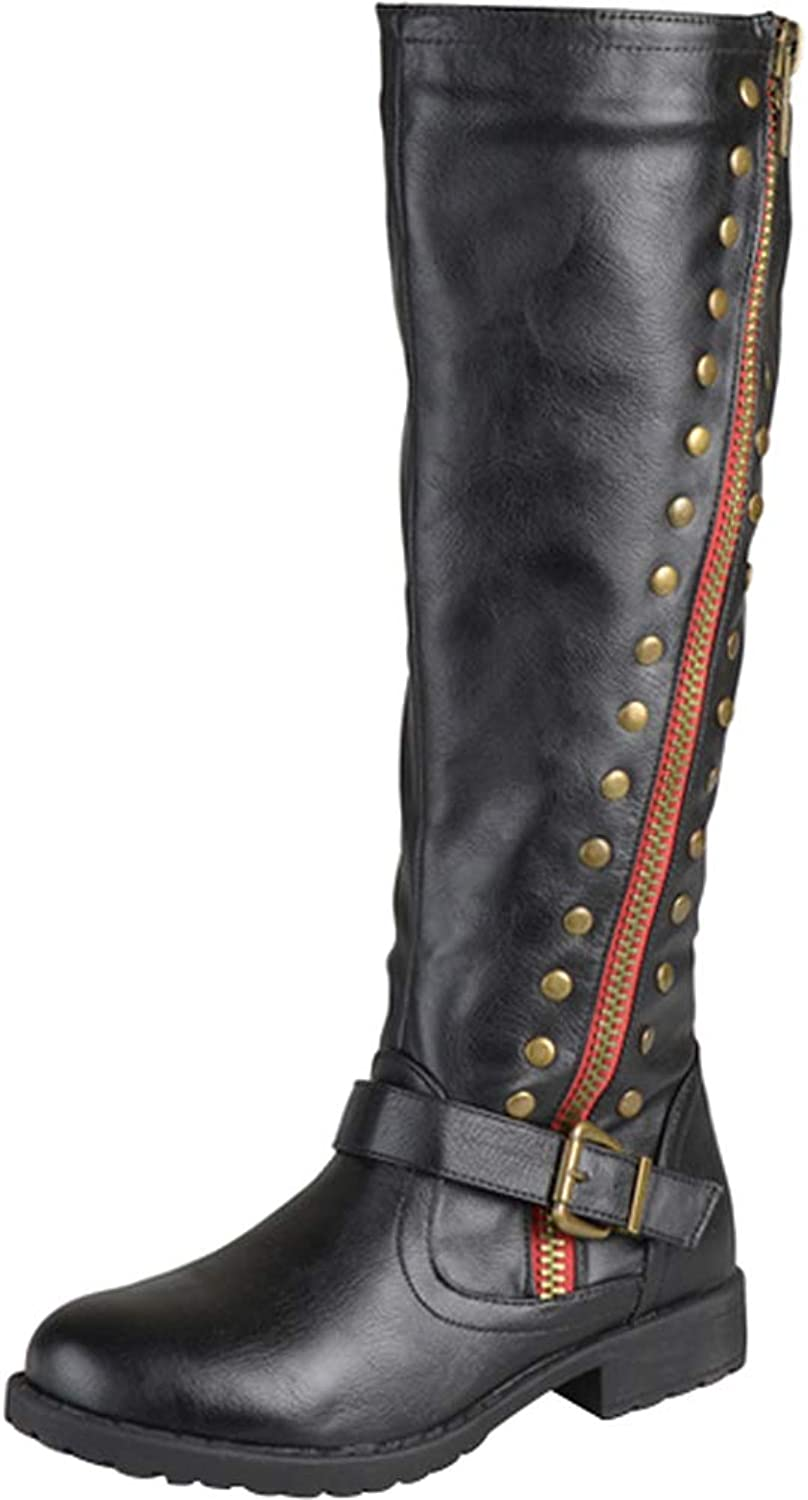 Sekesin Womens Ladies Leather Knee High Boots Flats Side Zip Winter Boots Long Riding Biker Boots Buckle Wide Calf