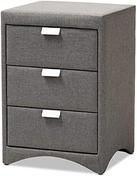 Baxton Studio 3 Drawer Upholstered Nightstand In Gray
