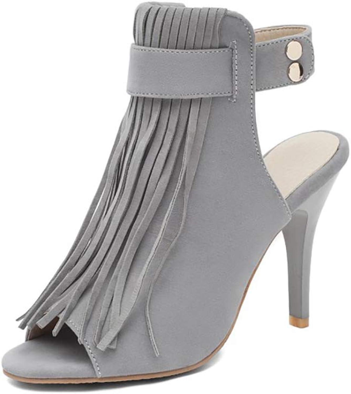 Womens Ladies Open Toe High Heel Sandals,Rivets Tassels Platform Stiletto shoes Comfort Work Breathable shoes