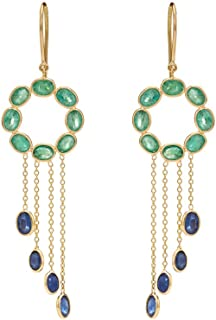 Gehna 18KT Yellow Gold, Emerald and Blue Sapphire Drop Earrings for Women
