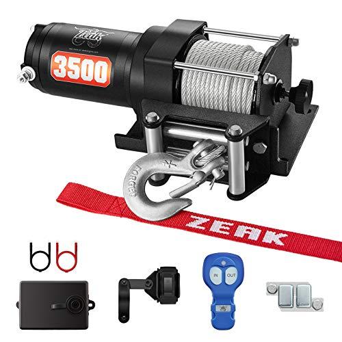 ZEAK 12V DC 3500 lb. ATV/UTV Electric Winch Kit, Steel Cable with Wireless Remote, Mini-Rocker, Bracket