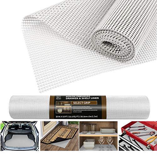 Besmall Antirutschmatte Mehrzweck, Anti Rutsch Teppichunterlage Schubladenmatte Teppichstopper Rutschschutz Unterlage für Teppich Schubladen Auto Küche, Zuschneidbar 50x300cm (Weiß)