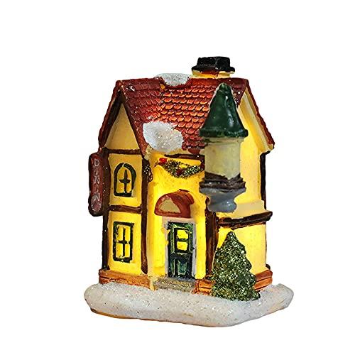 Grevosea Decorazioni natalizie in resina a forma di casa illuminata – Casetta dei villaggi di Natale illuminata a LED con personaggi, collezione per interni ed esterni