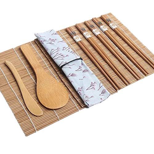 Kit de fabricación de sushi, 10 piezas de bambú Sushi Rolling Kit incluye 5 pares de palillos, 2 alfombrillas de sushi, 1 paleta de arroz, 1 esparcidor de arroz para hacer tu propio sushi en casa