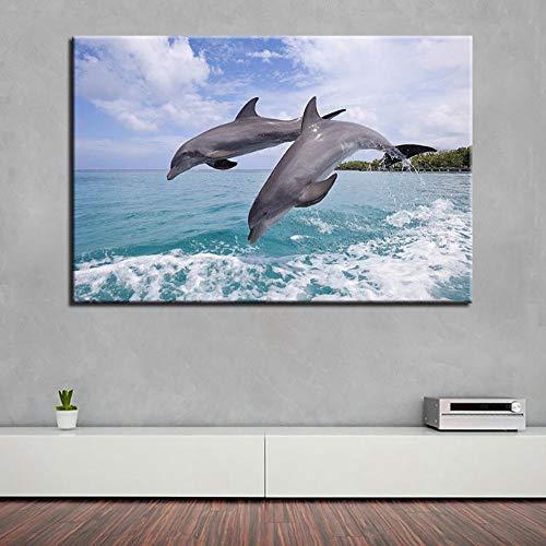Posters Wandkunst HD-Drucke Wohnkultur Delfine Leinwand Tiermalerei Seelandschaft Modulare Bilder Wohnzimmer Kunstwerk Poster B 32X40Inch (80X100Cm)