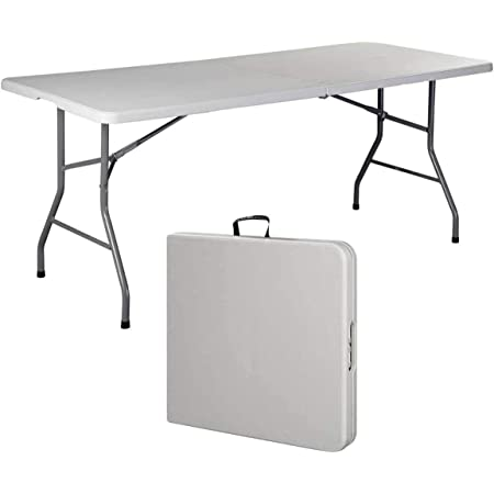 COLIBYOU 6' Folding Table Portable Plastic Indoor Outdoor Picnic Party Dining Camp Tables (White) (1, White) (1, White) (6 Inches)
