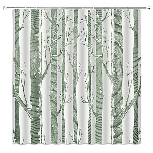 BOYIAN Birch Tree Shower Curtain Decor Birchs Forest Abstract Annual Rings Winter Modern Minimalist Literary Gray Fabric Bath Curtains Bathroom Polyester with Plastic Hooks 70x70 Inch