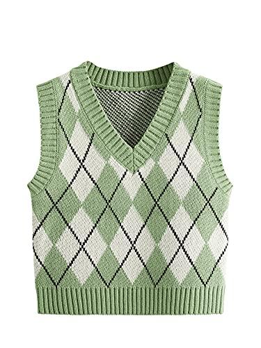 SweatyRocks Women's Plaid Geo Sleeveless V Neck Knit Crop Top Sweater Vest Mint Green M