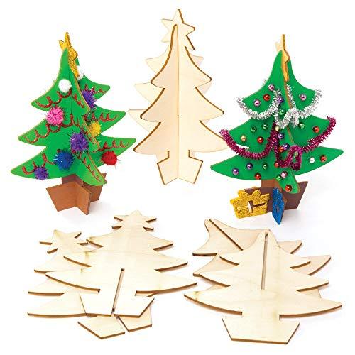 Baker Ross AW983 3D Weihnachtsbaum aus Holz (5 Stück) Bastelset für Kinder zu Weihnachten, Sortiert