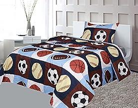 أغطية سرير للأطفال من جولدن لينينز توين 3 قطع (يناسب، ملاءة مسطحة وغطاء) مطبوع أزرق داكن، أزرق سماوي، بني، برتقالي للأطفال...