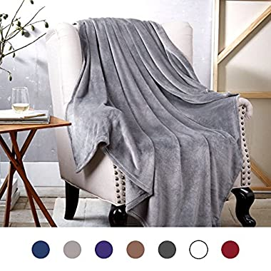 Bedsure Flannel Fleece Luxury Blanket Grey Twin Size Lightweight Cozy Plush Microfiber Solid Blanket