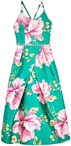 Amy Byer Girls Big Strappy Back Full Length Party Dress Green Pink Large Vintage Flowers 10 product image