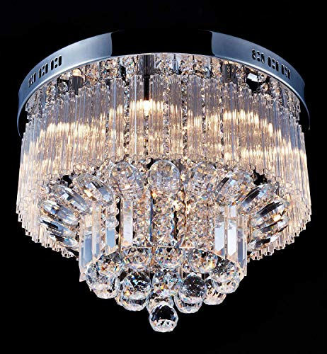 Saint Mossi Chandelier Modern K9 Crystal Raindrop Chandelier Lighting Flush Mount LED Ceiling Light Fixture Pendant Lamp for Dining Room Bathroom Bedroom Livingroom 9 G9 Bulbs Required H12' X D18'