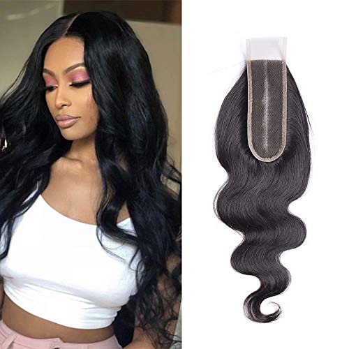 Maxine 2x6 Deep Middle Part Lace Closure Real Human Hair 9A Brazilian Virgin Remy Hair Unprocessed Body Closure with Baby Hair (16 inch£¬Natural Color)
