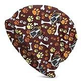 メンズビーニーボクサー犬動物かわいいペットの顔と犬の足と骨冬の毎日のニット帽子だらしないビーニー帽子暖かいスカルキャップ