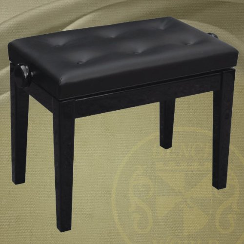 Find Discount 23 Inch Long Single Adjustable Ebony Polished Piano Bench in Square Tapered Legs