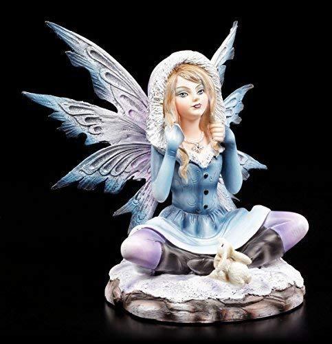 Winter Elfen Figur mit Schneehase - Fairy Fee Fantasy Deko Schnee
