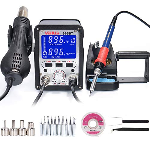 YIHUA 995D+ 2 in 1 Hot Air Rework and Soldering Iron Station with 3 Memories, Large LCD Screen Display, Cool Air/Hot Air Conversion, Sleep Mode, °F /°C and more.
