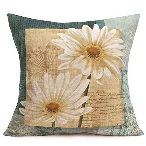 Royalours Throw Pillow Case Vintage Daisy Flower Print Cotton Linen Square Throw Pillow Covers Home Sofa Armchair Decor Design Pillow Case 18 x 18 Inch (Floral-1)