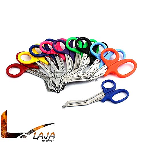 LAJA Imports 20 Pc Assorted Heavy Duty Rainbow EMT Trauma Shear - Ideal for EMT, Nurse, Medic, Police and Firefighter- Strong Enough to Cut A Penny in Half