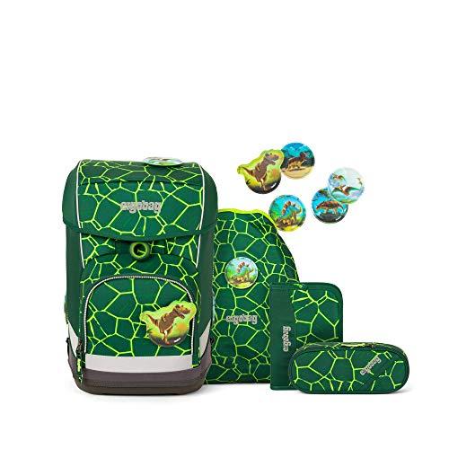Ergobag cubo Light BärRex, ergonomischer Schulrucksack, extra leicht, Set 5-teilig, 19 Liter, 780 g, Grün