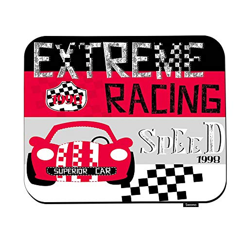 Swono Red Race Car Mouse Pads Cute Car Cartoon with Glasses On Striped Background Mouse Pad for Laptop Funny Non-Slip Gaming Mouse Pad for Office Home Travel Mouse Mat 7.9'X9.5'