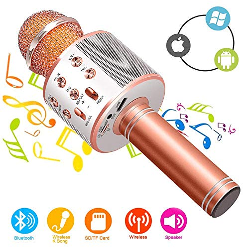 Wireless Bluetooth Microphone, Wireless Microphone Karaoke Bluetooth Handheld Indoor Music DJ KTV Home Party Gift for Kids for Smartphone, Blue