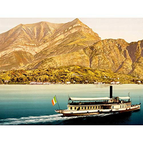 Wee Blue Coo Prints Vintage Photo Landscape Lake Como Mountain Boat Italy Flag Print Poster BB10369