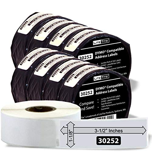 8-Pack DYMO LabelWriter 8 Rolls LW White LiteTite 30256 LT30256 2-5//16 x 4 Inches Blank Compatible Shipping Labels