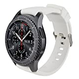 iBazal 22mm Armband Silikon Uhrenarmband Silikonarmband Armbänder Band Ersatz für Samsung Galaxy Watch 3 45mm/Galaxy 46mm,Gear S3 Frontier/Classic,Huawei GT,Ticwatch Pro Herren Uhrarmband - Weiß