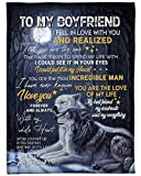 Personalized to My Boyfriend Fleece Blanket from Girlfriend Romantic Saying Wolf Couple in Love on Forest Ideas Gifts for Valentines Day Blanket Customized Soft Cozy Lightweight for Bed Sofa Wedding