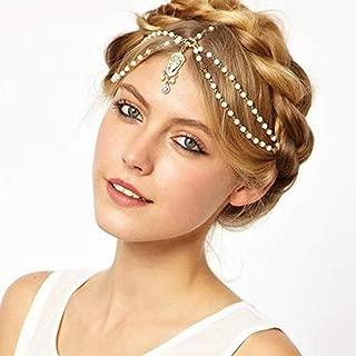 Deniferymakeup Vintage Wedding Bridal Gothic Gold Head Chain Bridal Headpiece Rhinestone Crystal Wedding Hair Accessories for Bride and Women Imitation Pearl Handmade Headband (White)
