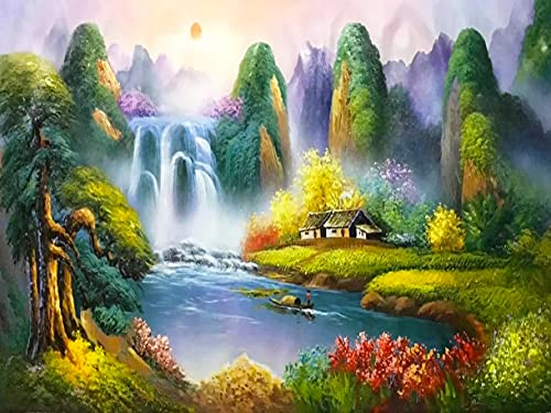 The waterfall scenery is painted by number, hand-painted set, suitable for adults, children, with brush, acrylic paint D-4 45x60cm