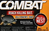 Combat Roach Killing Bait Stations for Small Roaches, Kills Roaches and Eggs, 12 Count