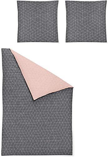 Irisette Biber Bettwäsche 135x200 4tlg grau rosa | Bettwäsche-Set aus 100% Baumwolle | 4 teilige Wende-Bettwäsche 135x200 cm & Kissen 80x80 cm | Geometrisches Muster