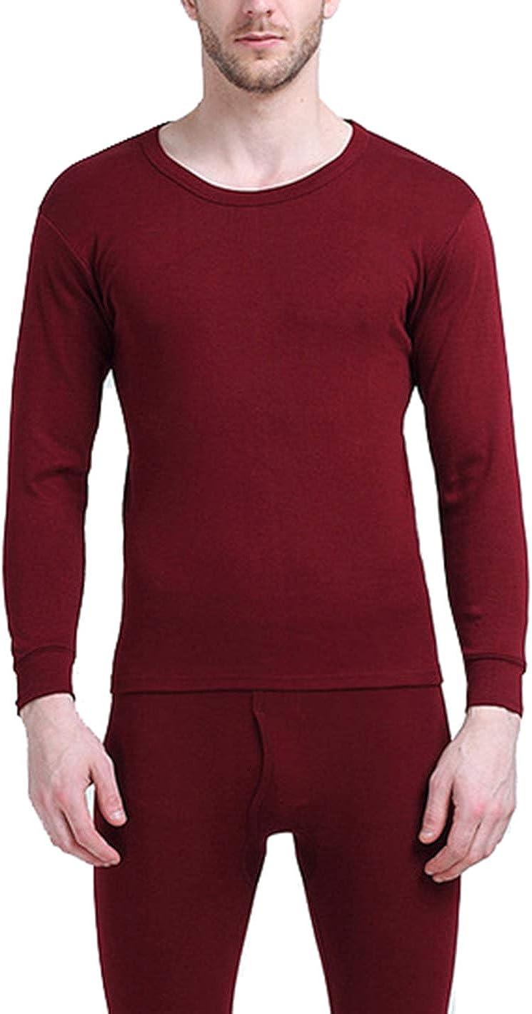 Seaoeey Men's Cotton Thermal Underwear Crew Neck Keep Warm Underwear Top and Bottom Set