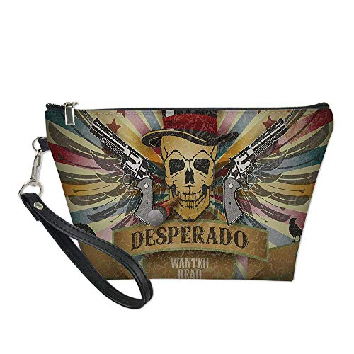 Western Useful Cosmetic Bag,Vintage Desperado Emblem Design with Skull in Western Style Wings Colorful Stripes Decorative for Travel ,21.5×14.5×6.5IN