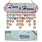 Gift for Mom and Grandma DIY Wooden Family Birthday Reminder Calendar Board for Home Decoration Birthday Tracker with Tag Wall Hanging Calendar