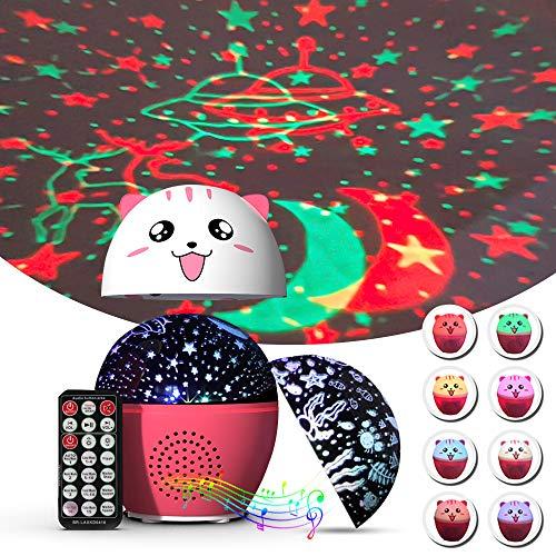 Proyector de cielo estrellado Shayson, 16 modos de iluminación y temporizador, estrella de la luna/océano con mando a distancia/Bluetooth para fiestas de cumpleaños, Navidad, bodas